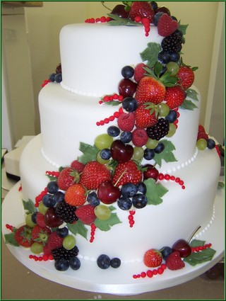 Wedding Cake Decorated With Tropical Fruits